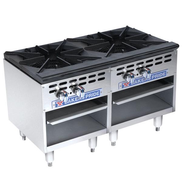 Bakers Pride Restaurant Series BPSP-36-2-D Liquid Propane Two Burner Side-by-Side Stock Pot Range Main Image 1