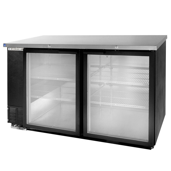 "Beverage Air BB58GY-1-BK-LED-WINE 58"" Black Back Bar Wine Series Refrigerator - 2 Glass Doors"