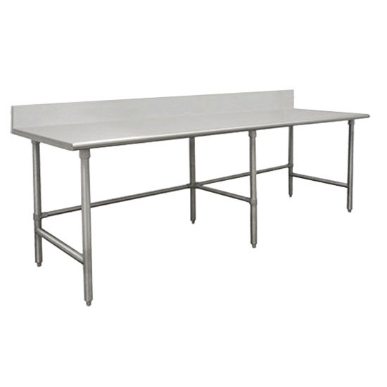 """Advance Tabco TVKG-369 36"""" x 108"""" 14 Gauge Open Base Stainless Steel Commercial Work Table with 10"""" Backsplash"""