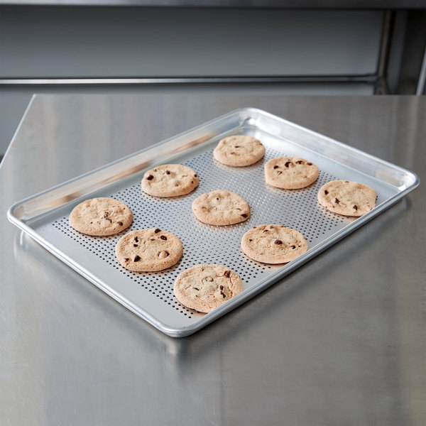 "Vollrath 5303P Wear-Ever Perforated Half Size Aluminum Bun / Sheet Pan 18 Gauge - Wire in Rim, 13"" x 18"""