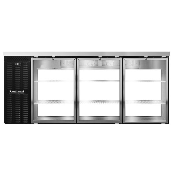 Continental Refrigerator BB79NGDPT 79 inch Black Glass Door Pass-Through Back Bar Refrigerator