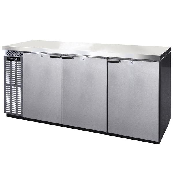 "Continental Refrigerator BB79NSSPT 79"" Stainless Steel Solid Door Pass-Through Back Bar Refrigerator Main Image 1"