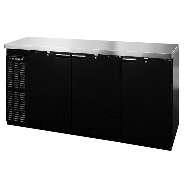 "Continental Refrigerator BB79SNPT 79"" Black Shallow-Depth Solid Door Pass-Through Back Bar Refrigerator Main Image 1"