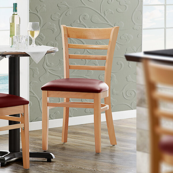 """Lancaster Table & Seating Natural Finish Wooden Ladder Back Chair with 2 1/2"""" Burgundy Padded Seat Main Image 4"""