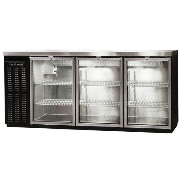 "Continental Refrigerator BB79SNGDPT 79"" Black Shallow-Depth Glass Door Pass-Through Back Bar Refrigerator Main Image 1"