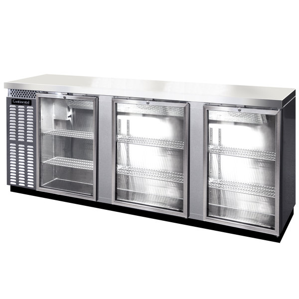 Continental Refrigerator BB90SNSSGD 90 inch Stainless Steel Shallow-Depth Glass Door Back Bar Refrigerator