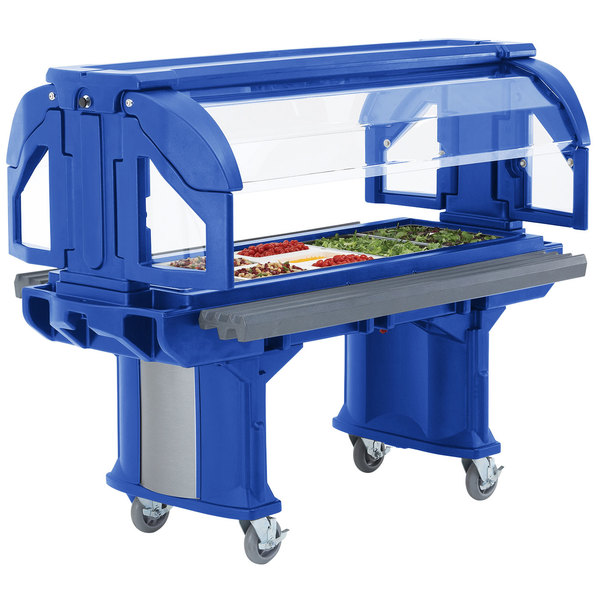 Cambro VBRLHD5186 Navy Blue 5' Versa Food / Salad Bar with Heavy-Duty Casters - Low Height