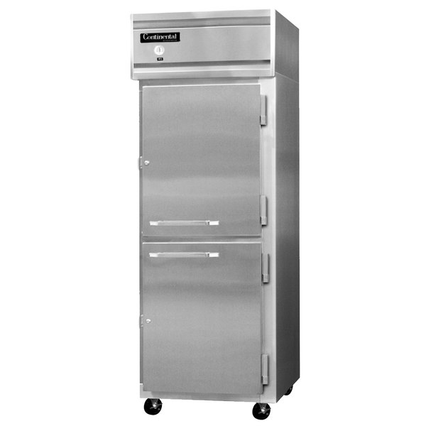 "Continental Refrigerator 1FEN-HD 28 1/2"" Half Door Extra Wide Reach-In Freezer Main Image 1"