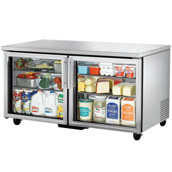 True TUC-60G 60 inch Undercounter Refrigerator with Glass Doors
