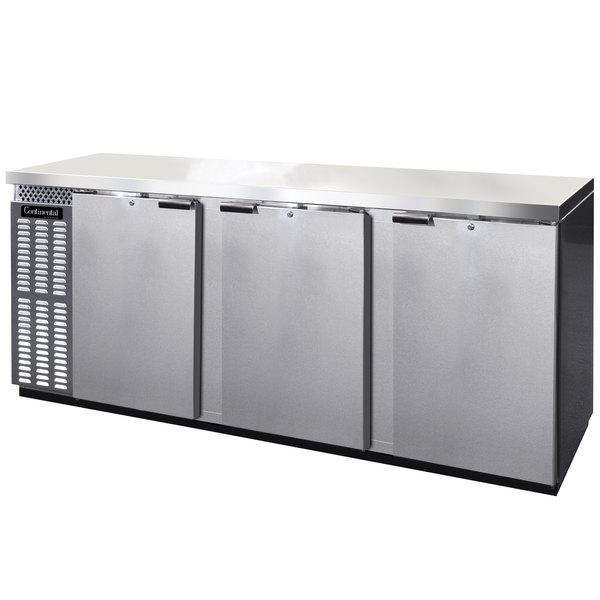 "Continental Refrigerator BB90NSSPT 90"" Stainless Steel Solid Door Pass-Through Back Bar Refrigerator Main Image 1"