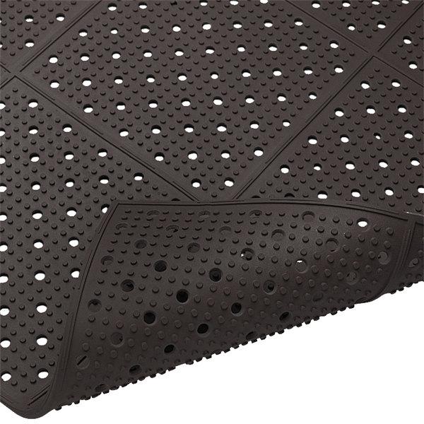 "Cactus Mat 1640R-C4 REVERS-a-MAT 4' Wide Black Reversible Rubber Anti-Fatigue Safety Runner Mat - 3/8"" Thick"