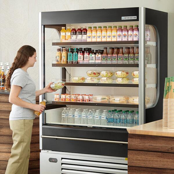 """Beverage-Air VMHC-18-1-B VueMax 51 3/4"""" Black Air Curtain Merchandiser Main Image 5"""