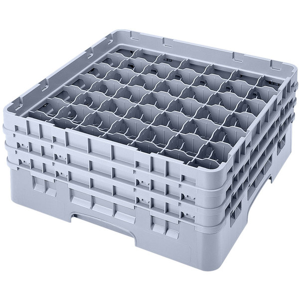 "Cambro 49S638151 Soft Gray Camrack Customizable 49 Compartment 6 7/8"" Glass Rack"