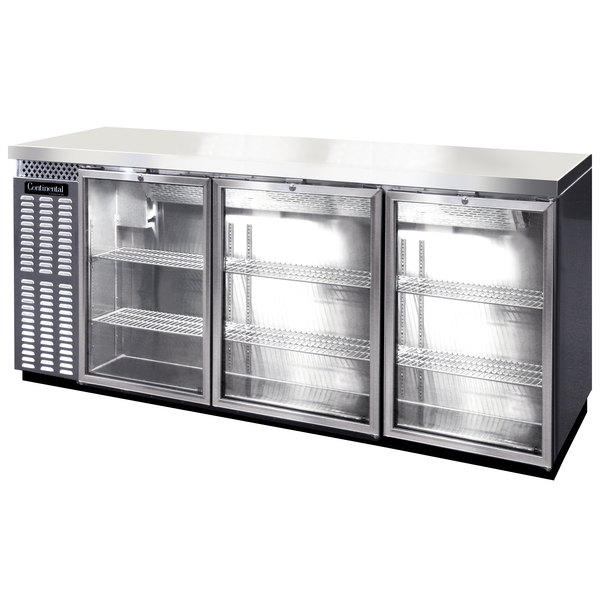 "Continental Refrigerator BB79SNSSGDPT 79"" Stainless Steel Shallow-Depth Glass Door Pass-Through Back Bar Refrigerator Main Image 1"