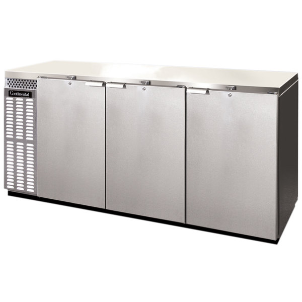 "Continental Refrigerator BB79SNSSPT 79"" Stainless Steel Shallow-Depth Solid Door Pass-Through Back Bar Refrigerator Main Image 1"