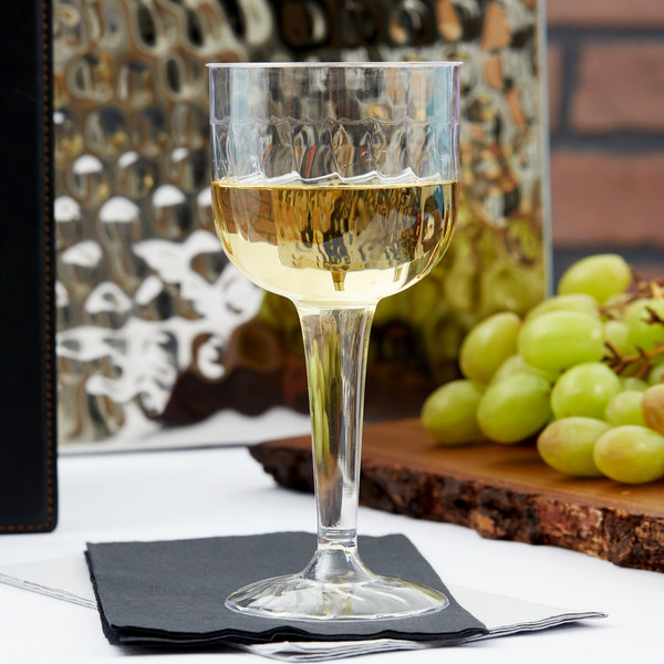Fineline Flairware 2209 8 oz. 1-Piece Clear Plastic Wine Goblet - 8/Pack