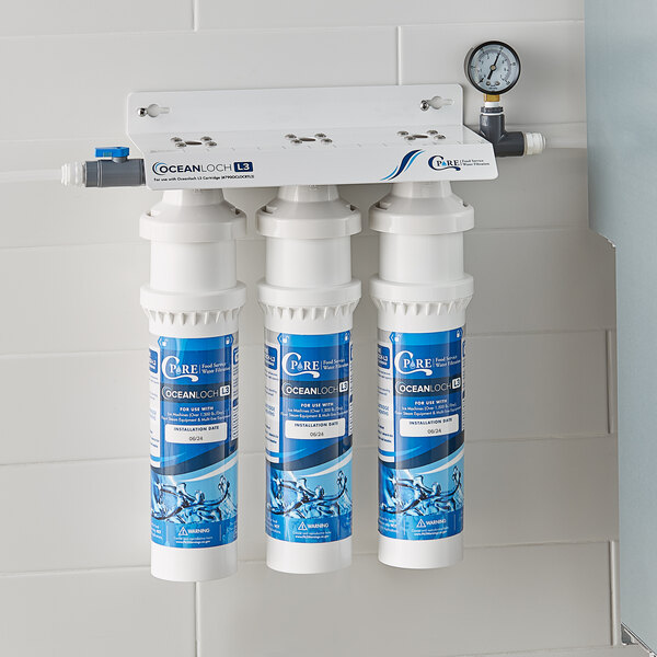 C Pure Oceanloch-L3 Triple Water Filtration System with Oceanloch-L3 Cartridges and Outlet Pressure Gauge - 1 Micron Rating and 5 GPM Main Image 2