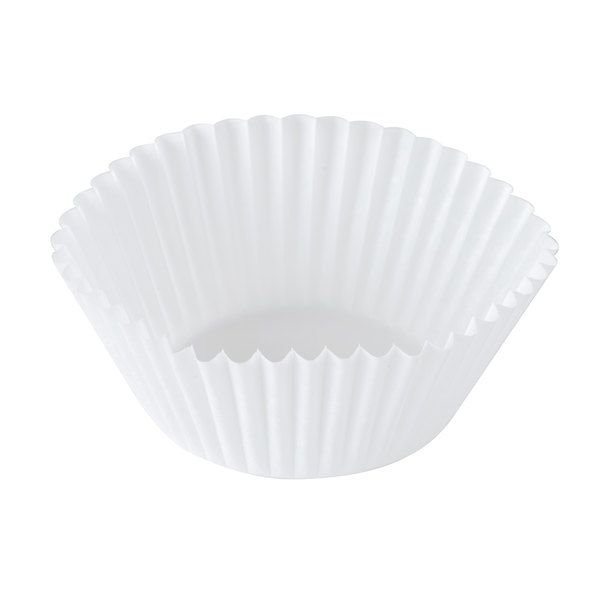 "Hoffmaster 610020 1 3/4"" x 1 1/8"" White Fluted Baking Cup - 500/Pack"