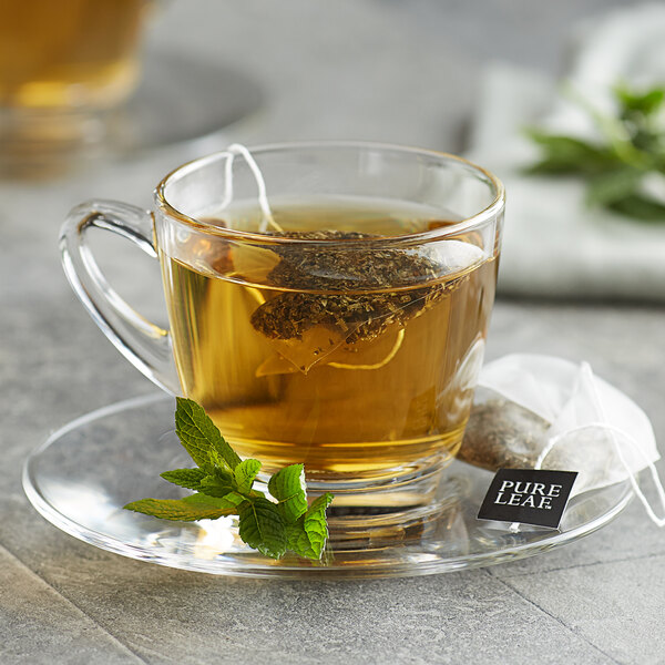 Pure Leaf Organic Peppermint Herbal Pyramid Tea Sachets - 20/Box Main Image 3