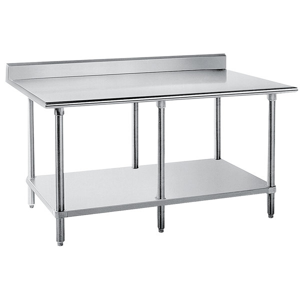 "Advance Tabco KLG-3610 36"" x 120"" 14 Gauge Work Table with Galvanized Undershelf and 5"" Backsplash"