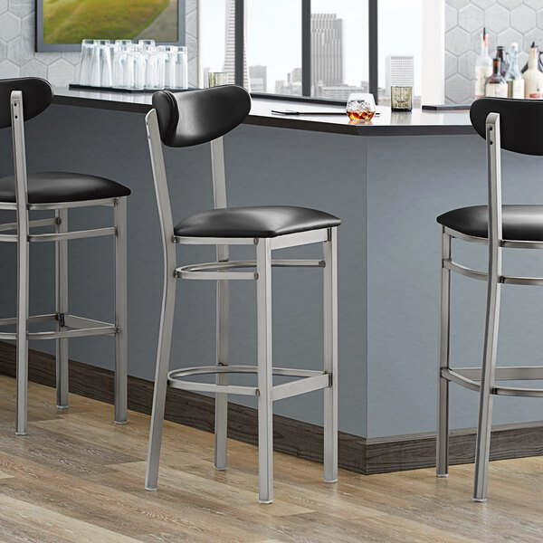 Lancaster Table & Seating Boomerang Bar Height Clear Coat Chair with Black Vinyl Seat and Back Main Image 4