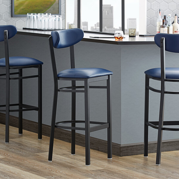 Lancaster Table & Seating Boomerang Bar Height Black Coat Chair with Navy Vinyl Seat and Back Main Image 4