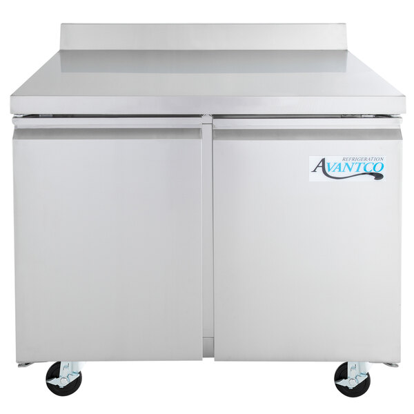 "Avantco SS-WT-36R-HC 36"" Stainless Steel ADA Height Worktop Refrigerator with 3 1/2"" Backsplash Main Image 1"