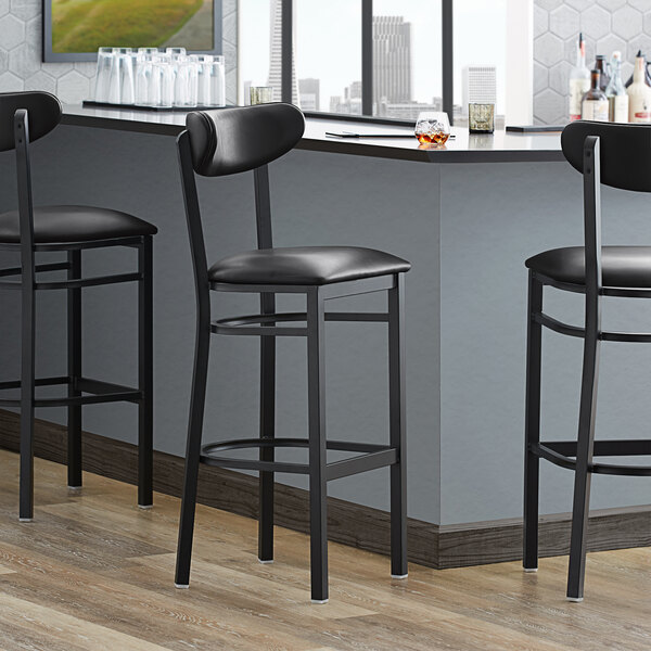 Lancaster Table & Seating Boomerang Bar Height Black Coat Chair with Black Vinyl Seat and Back Main Image 4