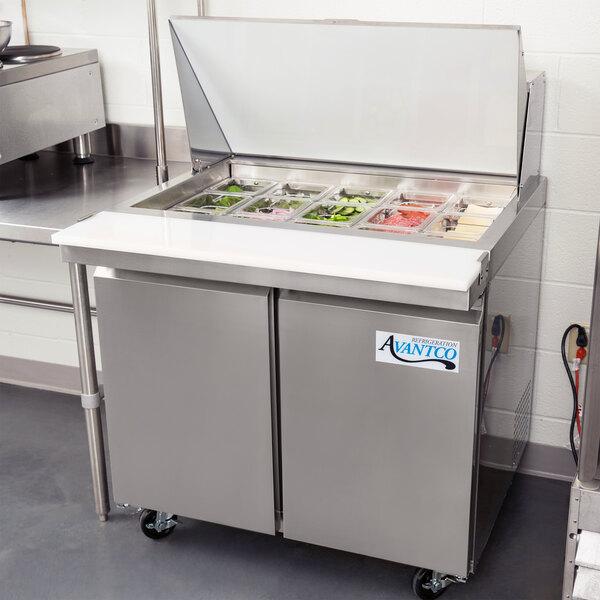 "Avantco SS-PT-36M-HC 36"" 2 Door Mega Top Stainless Steel ADA Height Refrigerated Sandwich Prep Table Main Image 6"