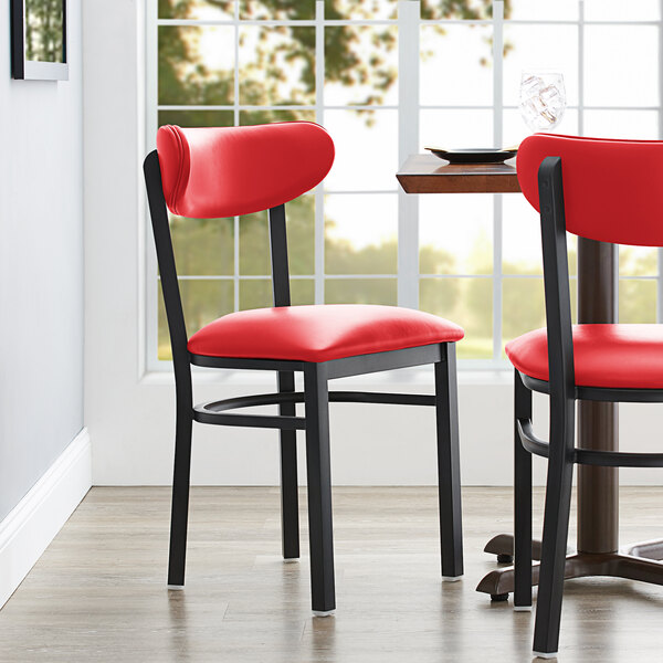 Lancaster Table & Seating Boomerang Dining Height Black Coat Chair with Red Vinyl Seat and Back Main Image 4