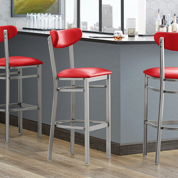 Lancaster Table & Seating Boomerang Bar Height Clear Coat Chair with Red Vinyl Seat and Back Main Image 4