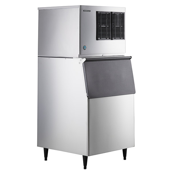 """Hoshizaki KML-500MAJ Low Profile 30"""" Air Cooled Crescent Cube Ice Machine with Stainless Steel Finish Ice Storage Bin - 442 lb. Per Day, 500 lb. Storage Main Image 1"""
