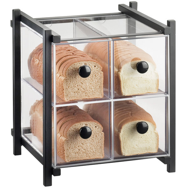 """Cal-Mil 1146-13 One by One Four Drawer Black Bread Display Case - 14"""" x 14 3/4"""" x 15 3/4"""""""