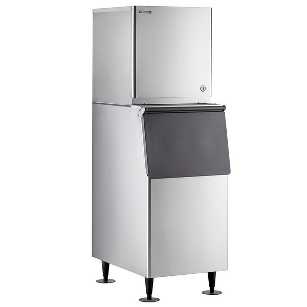 """Hoshizaki KMD-410MAJ 22"""" Air Cooled Crescent Cube Ice Machine with Stainless Steel Finish Ice Storage Bin - 418 lb. Per Day, 300 lb. Storage Main Image 1"""