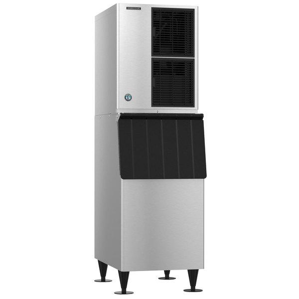 "Hoshizaki KM-520MAJ Slim Line 22"" Air Cooled Crescent Cube Ice Machine with Stainless Steel Finish Ice Storage Bin - 556 lb. Per Day, 300 lb. Storage Main Image 1"