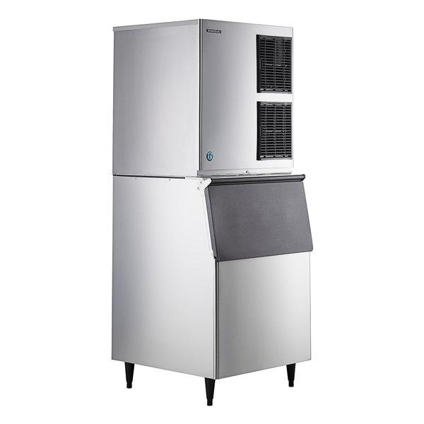 "Hoshizaki KM-901MAJ 30"" Air Cooled Crescent Cube Ice Machine with Stainless Steel Finish Ice Storage Bin - 950 lb. Per Day, 500 lb. Storage Main Image 1"