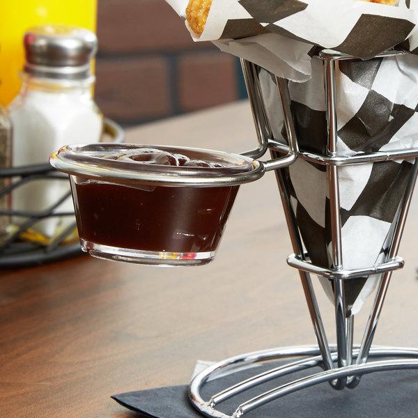 "American Metalcraft SQFBRS Stainless Steel Basket Sauce Cup Holder - 3 1/8"" x 2"""
