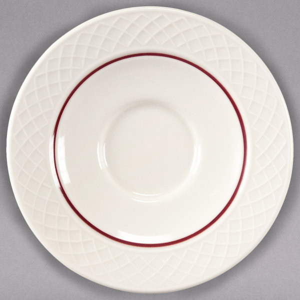 "Homer Laughlin 1492-0328 Gothic Maroon Jade 4 1/2"" Off White China Saucer - 36/Case"
