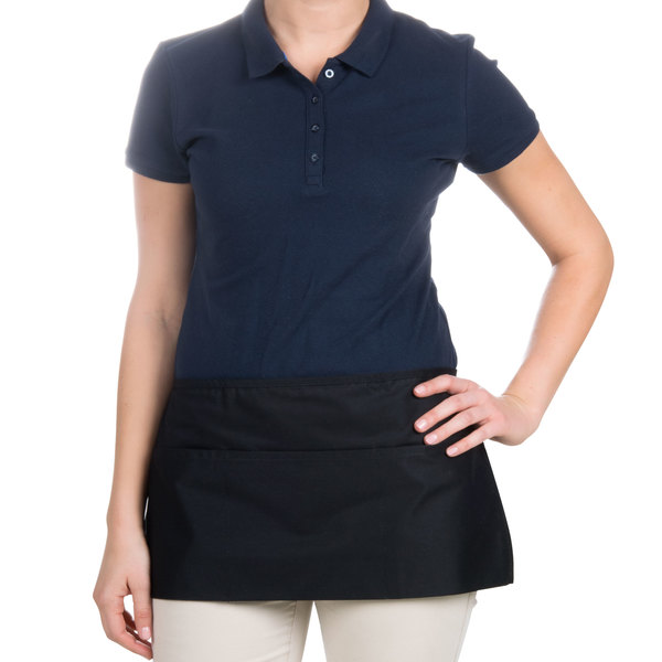 "Choice 12"" x 26"" Black Front of the House Waist Apron"