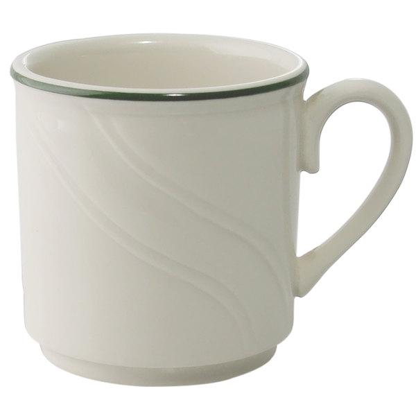 Homer Laughlin Lydia Green 8.25 oz. Off White China Mug - 36/Case