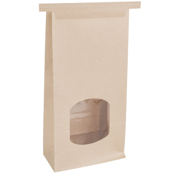 Bagcraft Papercon 300249 4 3/4 inch x 2 1/2 inch x 9 1/2 inch EcoCraft Waxed Stand-Up Kraft Window Bag with Tin Tie Closure - 500/Case