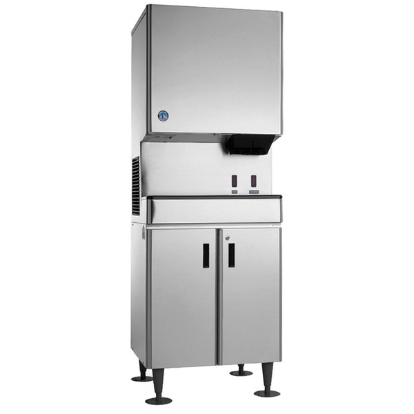 Hoshizaki DCM-500BAH-OS Opti-Serve Hands-Free Cubelet Ice Maker and Water Dispenser with Floor Stand - 618 lb. Per Day, 40 lb. Storage Main Image 1
