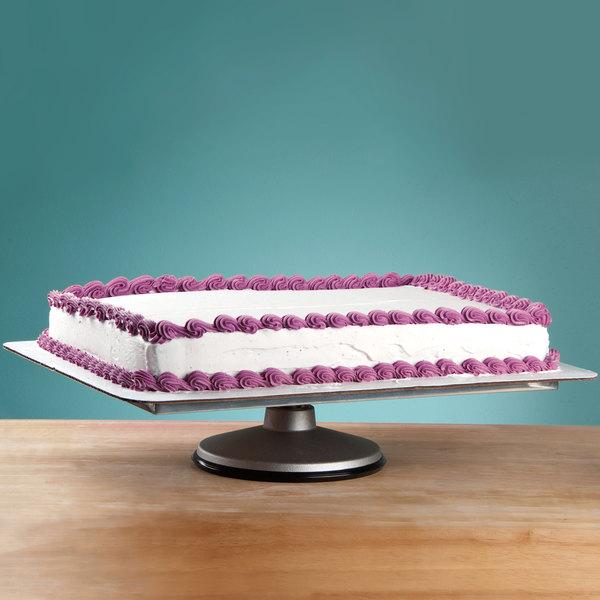 "Ateco 614 12"" x 16"" Revolving Aluminum Cake Stand for Half-Size Sheet Cake (August Thomsen)"