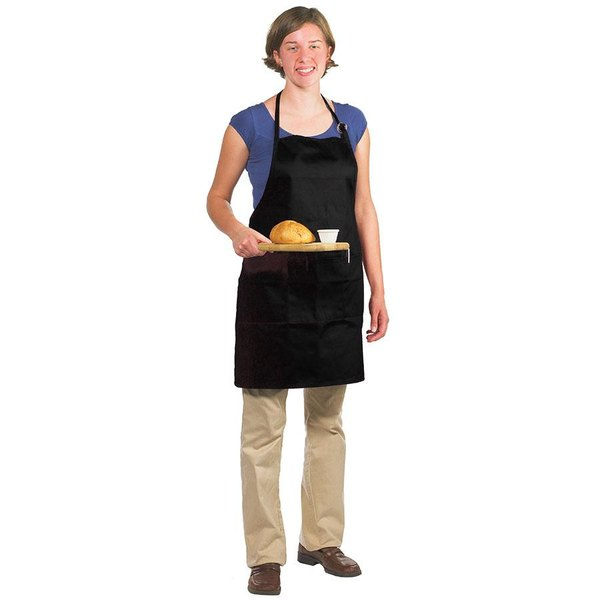 "Chef Revival 601BAO-3-BK Customizable Professional Gourmet Full-Length Black Bib Apron - 30"" x 28"""