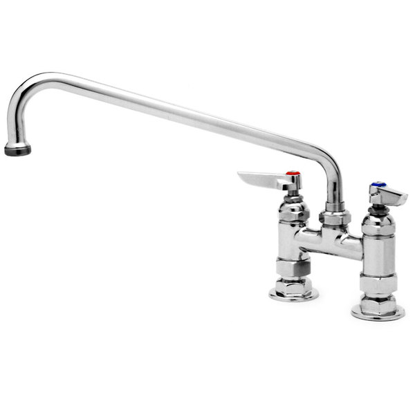 "T&S B-0227 Deck Mounted Pantry Faucet with 4"" Adjustable Centers, 8"" Swing Nozzle, and Eterna Cartridges"