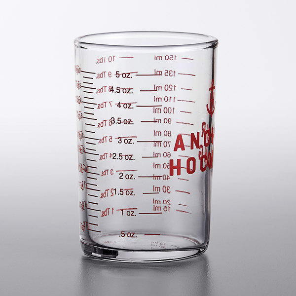3.5 INCH  MEASURING GLASS  5 OZ MULTI MEASURE   ANCHOR  RED   LOGO