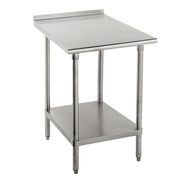 "16 Gauge Advance Tabco FAG-302 30"" x 24"" Stainless Steel Work Table with 1 1/2"" Backsplash and Galvanized Undershelf"