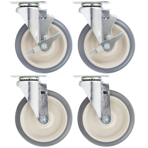"""Cambro Equivalent 6"""" Swivel Plate Casters for Cambro Products - 4/Set Main Image 1"""