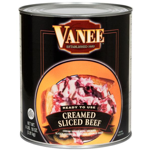Vanee 490GK #10 Can Creamed Sliced Beef - 6/Case
