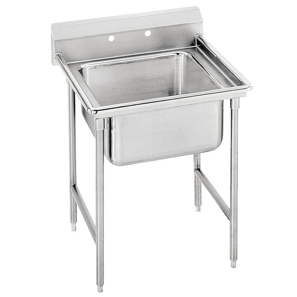 "Advance Tabco T9-1-24 Regaline One Compartment Stainless Steel Commercial Sink - 25"" Long, 16"" x 20"" x 12"" Compartment"